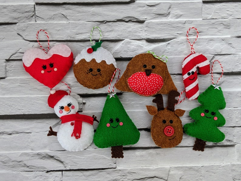 Cute Christmas Ornaments 8 pack containing Snowman Christmas image 0