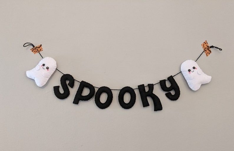 Spooky Halloween Ghost Decoration. Felt Wall Hanging. Spooky image 0