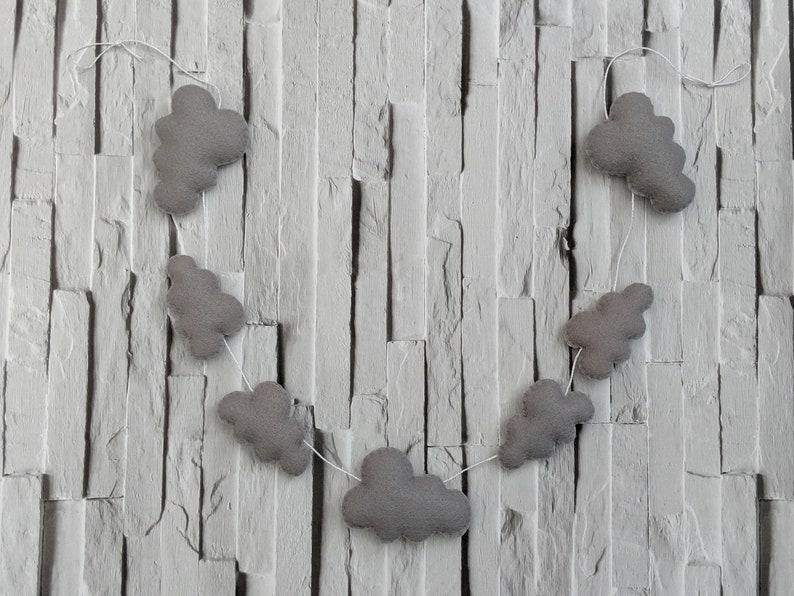Felt Grey Cloud Garland Modern Unisex Nursery Decoration and image 0