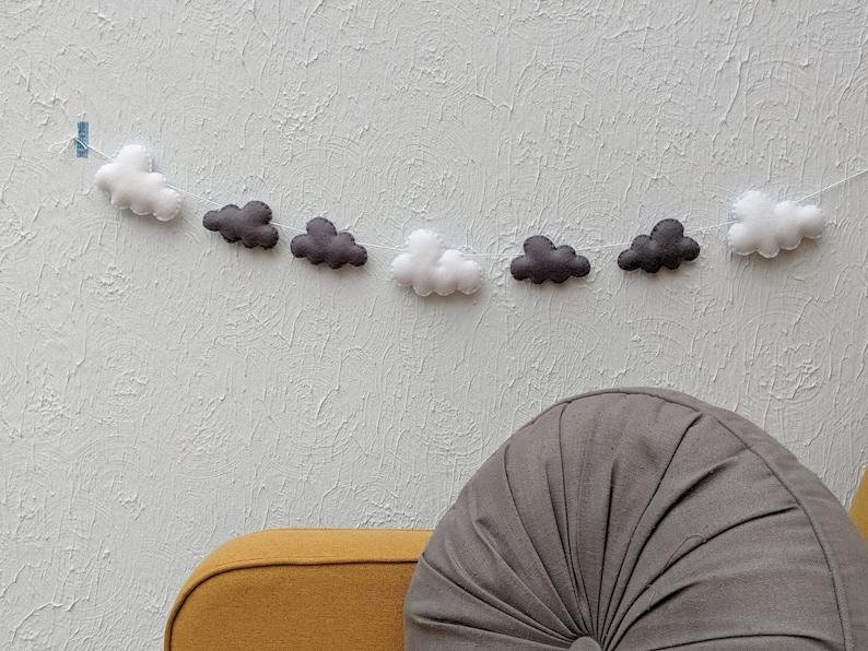 Felt Cloud Garland in Grey and White  Modern Unisex Nursery image 0