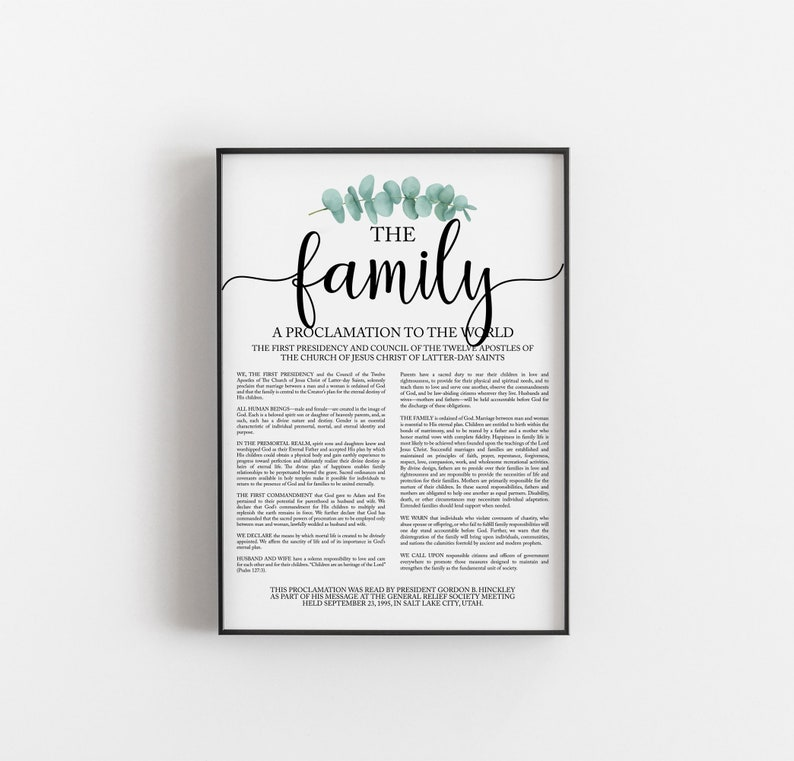 photograph relating to Family Proclamation Printable named The Household Proclamation Print, LDS Family members Proclamation, Impressive Family members Proclamation Printable, LDS Print, LDS Artwork, Christian Printable Artwork