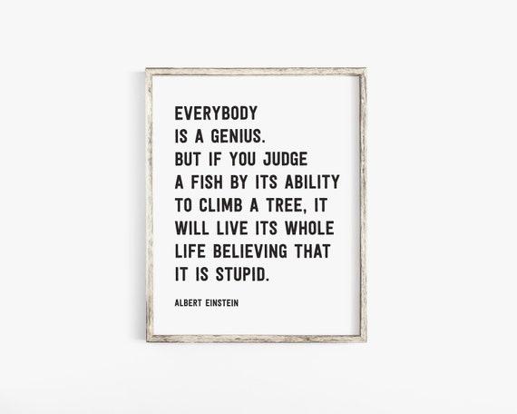 Jeder Ist Ein Genie Druckbare Albert Einstein Zitat Klassenzimmer Dekor Inspirierende Zitate Wohnkultur Kinderzimmer Dekor Kinderzimmer Kunst