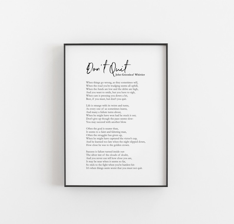 image about The Dash Poem Printable named Dont Prevent Poem Printable