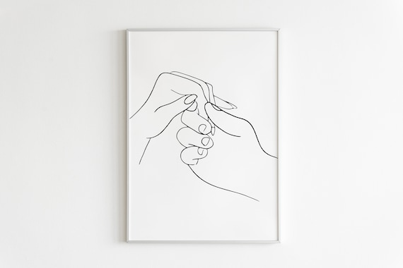 Line Drawing Holding Hands Sketch