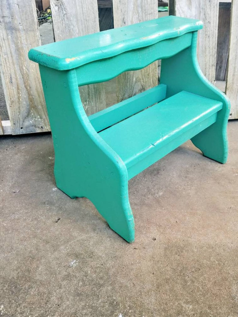 Astonishing Sold Kids Distressed Green Step Stool Rustic Teal Step Stool Farmhouse Style Kids Step Stool Bohemian Kids Step Stool Onthecornerstone Fun Painted Chair Ideas Images Onthecornerstoneorg