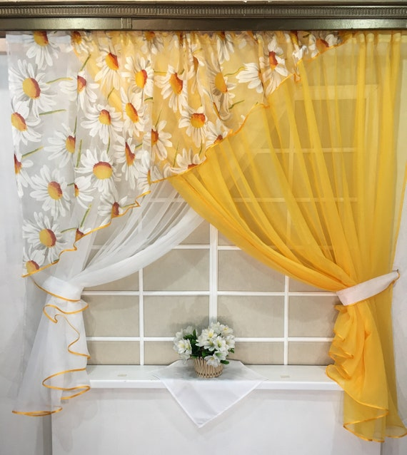 Floral Country Curtains Kitchen Farmhouse Yellow Etsy