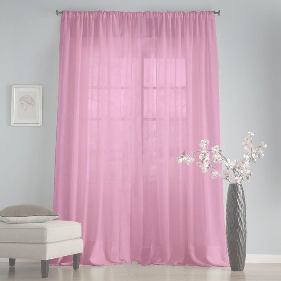 Pink shabby chic kitchen curtains Long sheer chiffon curtains Baby shower  backdrop Net curtains Gift for a new house Window sheers