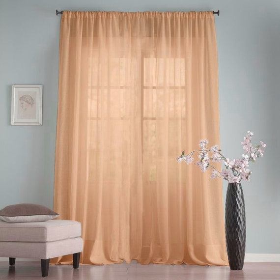 Peach shabby chic kitchen curtains Long sheer chiffon curtains panel Plain  net curtains Baby shower backdrops Wedding ceremony decor