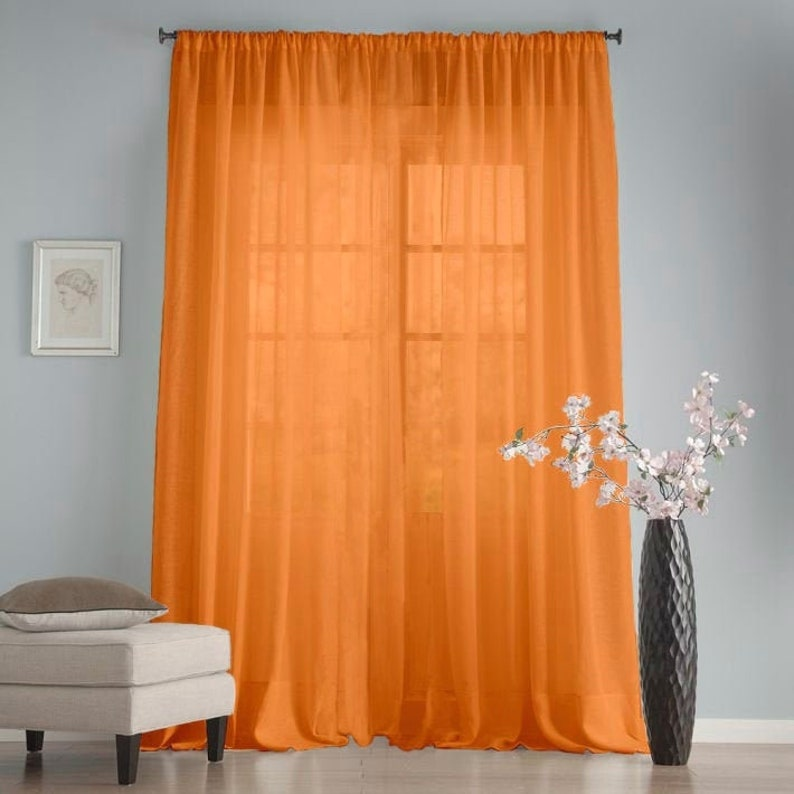 Orange long sheer chiffon curtains Shabby chic kitchen curtains Baby shower  backdrops Net plain curtains House warming gift Window curtains