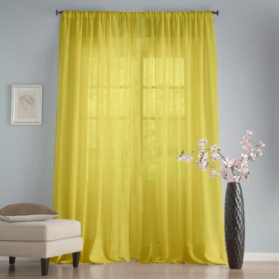 Yellow chiffon window drapes Long sheer farmhouse curtains Net living room  curtains Gift for a new house Wedding backdrop curtains