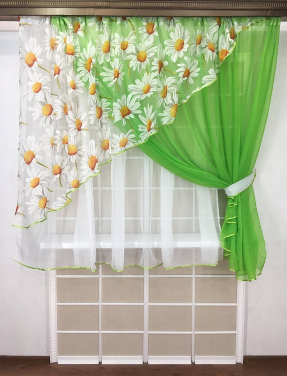 Kitchen Curtains Farmhouse Sheer Set Floral Country Etsy