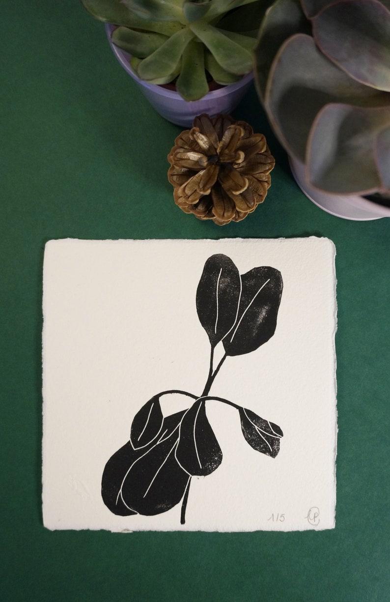 Card Caoutchouc linocut unframed size 15.5 cm x 15.5 cm on image 0