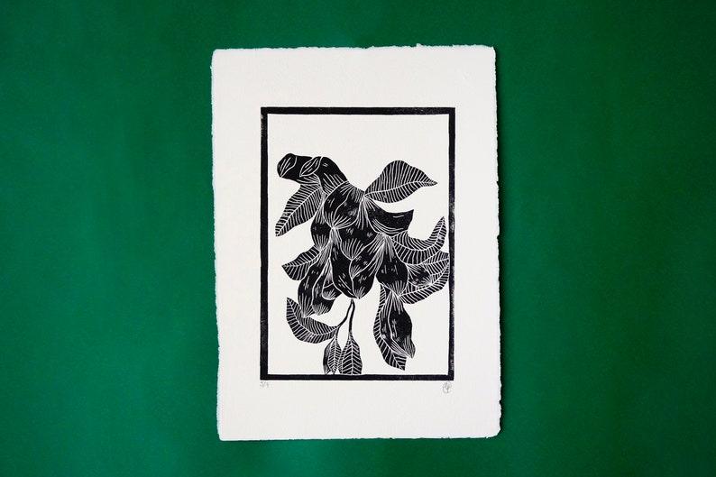Fuschia poster frameless linocut 21 cm x 30 cm on 260g image 0
