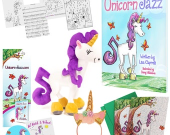 Wow - A 12 Piece Gift Children's Unicorn Gift Set - Unicorn Jazz Autographed Book, Unicorn Plush, Greeting Card and bonus unicorn gifts