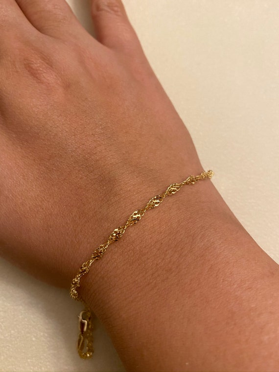 14K Solid Gold Tangled Bracelet /& Anklet perfect gift for anyone classy,trendy.