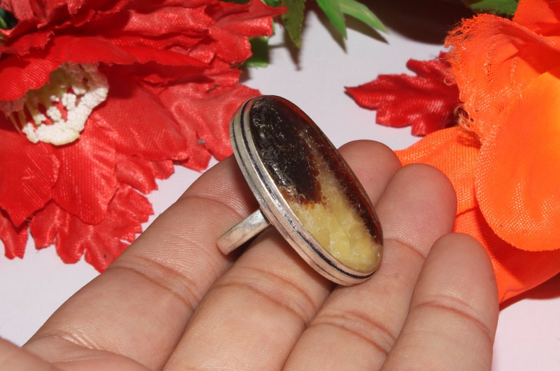 Natural Septarian Huge Ring  Gemstone Ring  Ethnic Jewelry  Vintage Jewelry  925 Sterling Silver Plated Us Size 8 SG-31