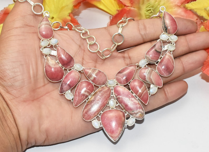 Natural Rhodochrosite Rainbow Moonstone Gemstone Necklace  Ethnic Jewelry  Vintage Jewelry  925 Sterling Silver Plated Size 20 SG-38