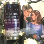 """To the stars that listen, and the dreams that are answered"""" ACOMAF inspired, snow globe tumbler liquid glitter personalized stainless steel"""