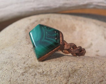 Malachite ring electroplated in copper