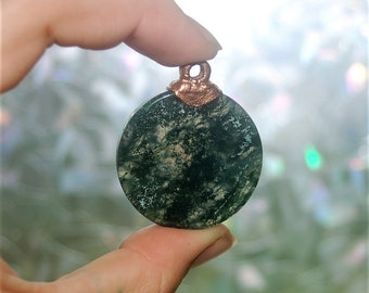 Moss Agate Disk with electroformed copper bail