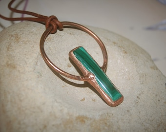 Malachite Necklace Copper Electroformed