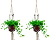 Hanging Planter - Indoor Outdoor Plant Hanger - 100 Cotton Macrame Plant Holder Set of 2 - 4 Legs 43 Inches
