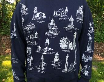 bba1efbe7 Michigan Rag Company Lighthouse Vintage Navy Blue Crewneck Sweatshirt Mens XL  Made in Usa