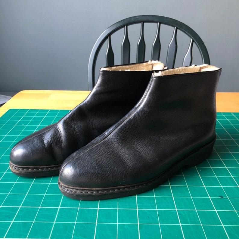 Henke Novella Ankle Boots Mens 9.5 Leather Vintage Black Lined 1960s 1970s