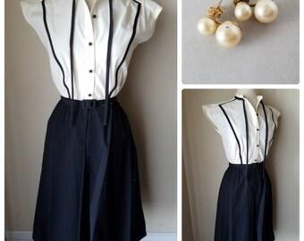 e02dcce2e6 Sunshine Alley Women s Dress Vintage Cream Black Sleeveless Belted +  Earrings