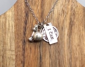 Vintage 17 quot -19 quot Necklace Silver Toned With Weight Lifting Charms Dumbbell Disk And I Can Used