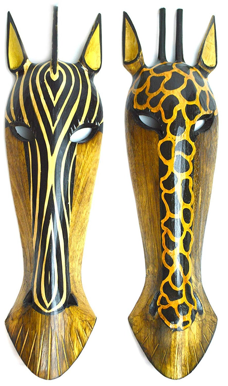 """39/"""" African Wooden Zebra Mask Hand Carved Wall Plaque Hanging Decor Art Gift"""