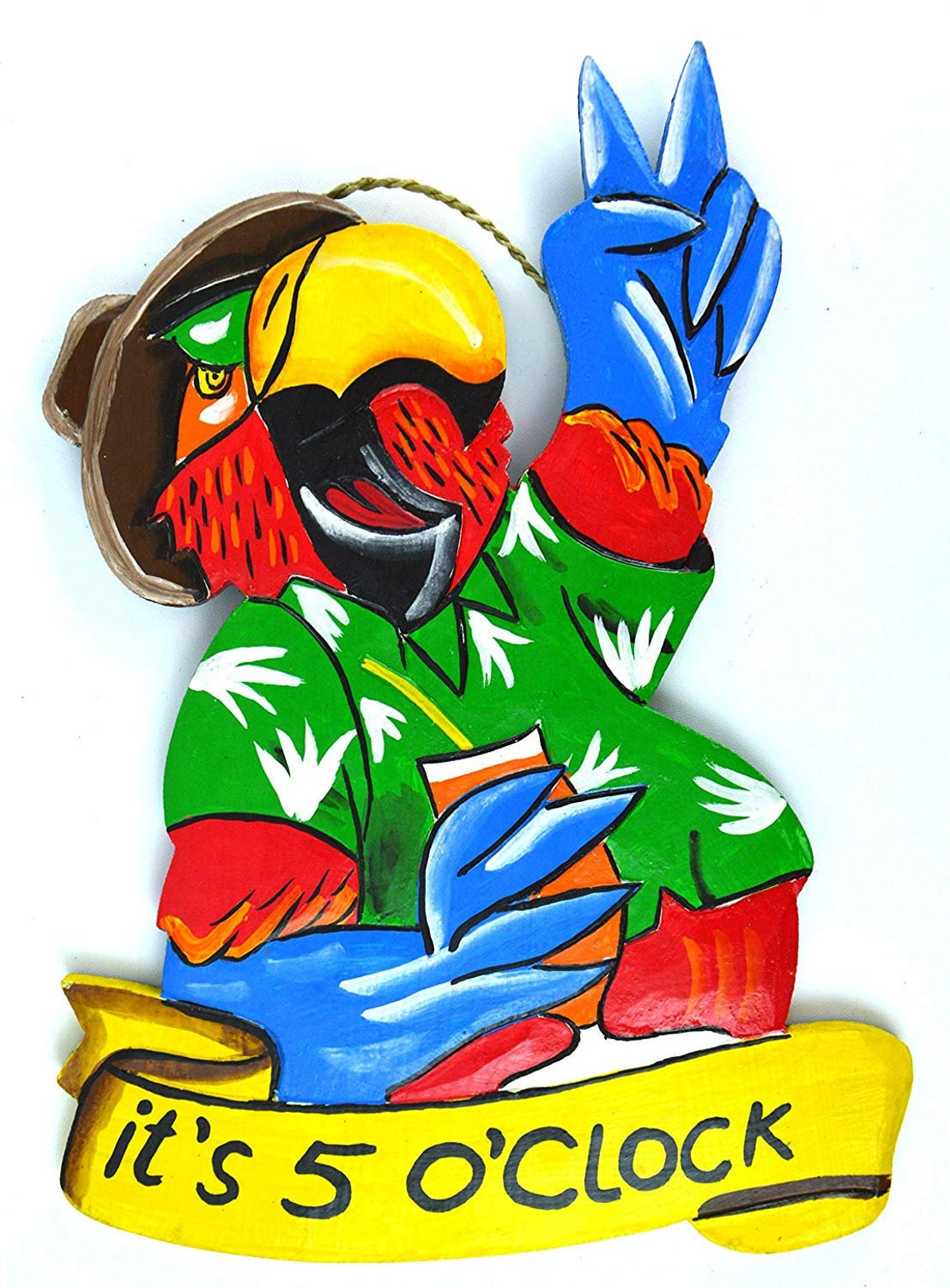 Hand Carved Wood Parrot Peace It's 5 image 0