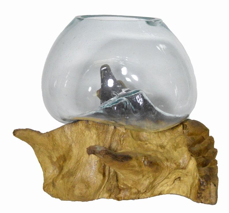 12.5 Hand Mouth Molten Glass Bowl Drift Base Wood Nautical Fish Aquarium Terrarium A4