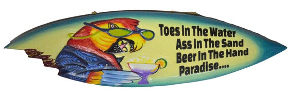 New Sign Drink in Hand Toes in Sand Flip Flop Art Paradise Plaque