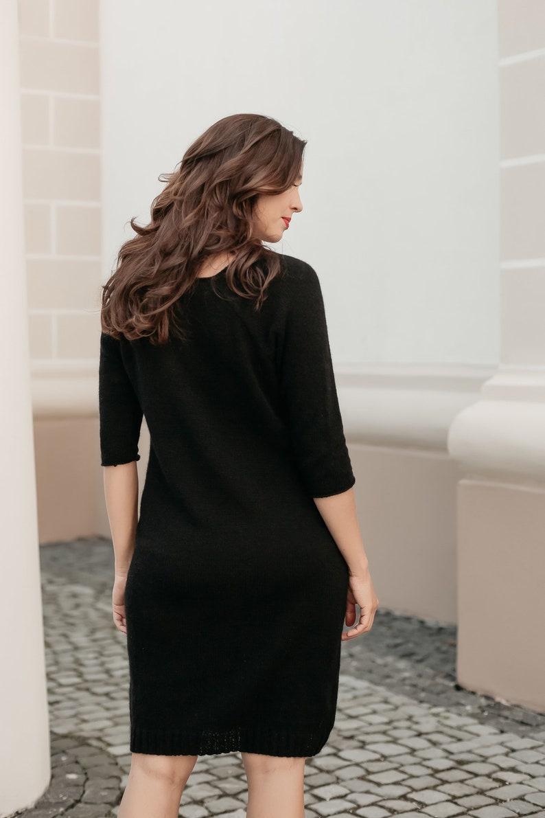 Oversized Dress Long Winter Loose Dress Midi Dress Wool Dress Long Wool Dress Warm Dress Black Sweater Dress Women Long Dress Warm