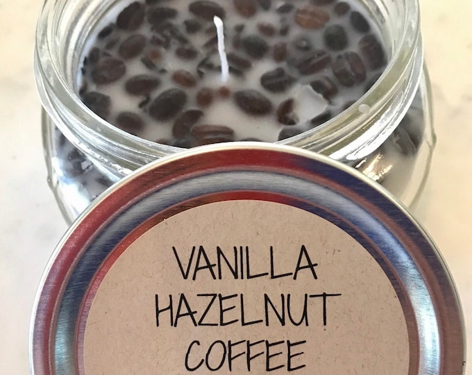 Vanilla Hazelnut Coffee scented beeswax candle with whole coffee beans