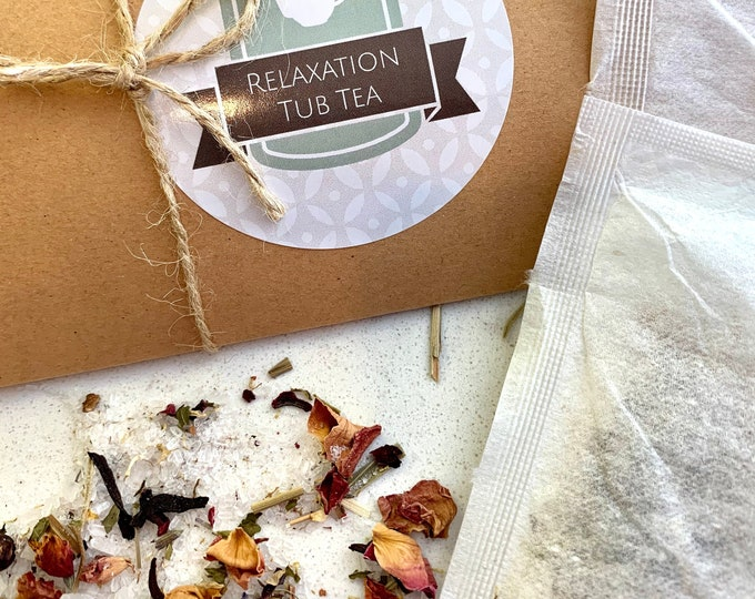 Relaxation Tub Tea bags with dried flowers, epsom salts and lavender essential oil