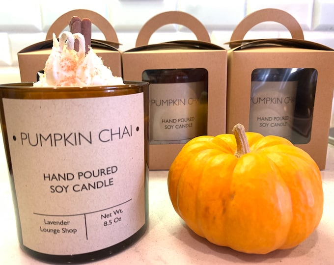 Pumpkin Chai Soy Candle with whipped topping