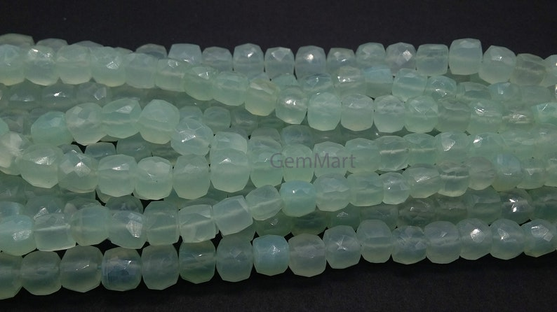 Size: 7mm Box Shape Faceted Chalcedony Briolette Stones 1 Strand A+ Natural Aqua Chalcedony Briolettes 9mm  GMB168