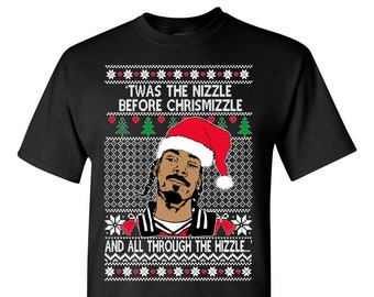 OnCoast Snoop Dog Fo Shizzle Dizzle | Snoop Dog Ugly Christmas Sweater TSHIRT | Funny Ugly Christmas Sweater | Holiday Gift