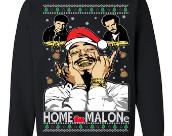 OnCoast Post Malone Home Alone Home Malone Collaboration  | Post Malone Ugly Christmas Sweater | Funny Ugly Christmas Sweater Holiday Gift