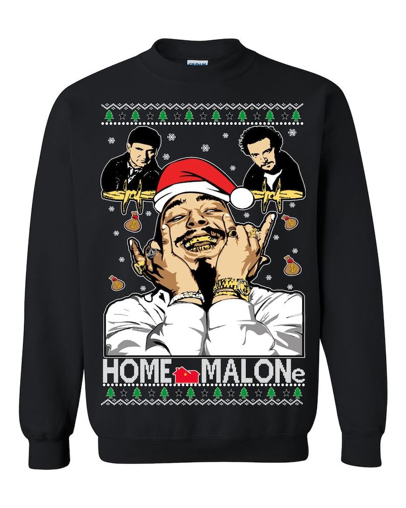Kersttrui 68.Oncoast Post Malone Home Alone Home Malone Collaboration Etsy