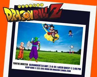 Dragon Ball Z Personalized Invite Digital Printable Downloadable Birthday Party Custom Invitation FREE Thank You Tags