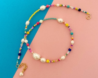 Colourful Bead and Pearl necklace/seed bead  and pearl/Beaded Collar necklace/Colourful Beaded necklace/Layering necklace/Friend gift
