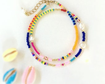 Bead and Pearl necklace/seed bead and pearl necklace/Beaded Choker/Colourful Beaded necklace/Bead and Pearl collar/Rainbow bead necklace