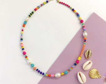 Colourful Bead and Pearl necklace/Colourmix bead and pearl/Beaded Collar necklace/Colourful Beaded necklace/90s style/pearls by Mimmi/gift
