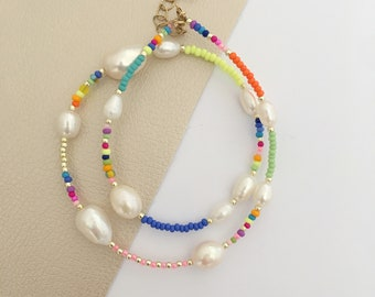 Pearl and Seed bead necklace/Neon beaded choker/Pearl and bead choker/beaded pearl collar/freshwater pearl necklace/colourful bead necklace