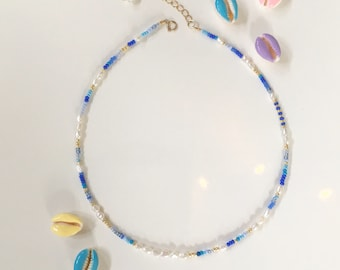 Bead and Pearl necklace in blue tones/seed bead and pearl necklace/Beaded Choker/Colourful Beaded necklace/Bead and Pearl collar/blue bead