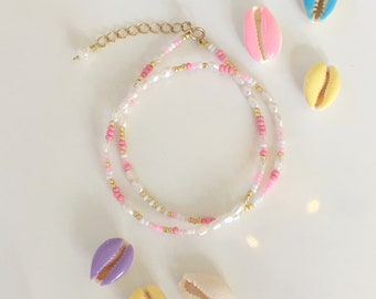 Bead and Pearl necklace in pink tones/seed bead and pearl necklace/Beaded Choker/Colourful Beaded necklace/Bead and Pearl collar/pink beaded