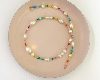 Bead and pearl necklace/Colourful bead and pearl/Beaded rainbow necklace/Colourful Beaded necklace/Seedbead necklace/rainbow necklace/gift